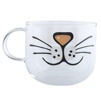 Cat Printed Glass Coffee Mug