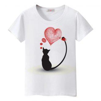 Women's Colorful Cat Printed T-Shirt